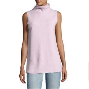 The Row cashmere pink Leona sleeveless turtleneck